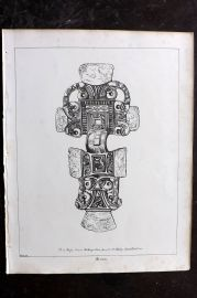 Anastatic Drawing Society 1858 Print. Anglo Saxon Antiquities found at Saxby Leicester